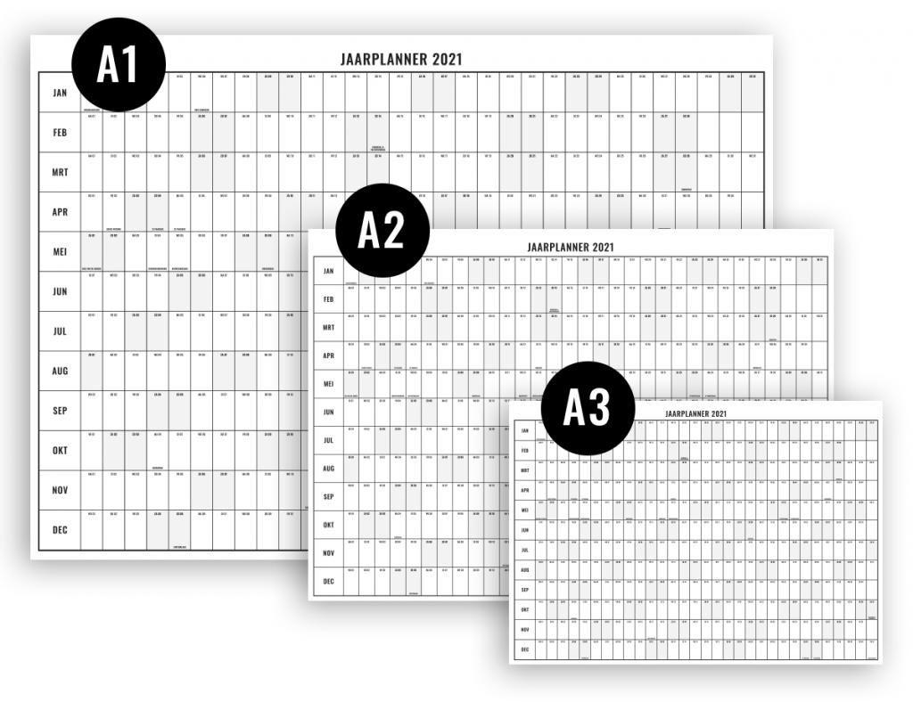 Jaarplanner 2021 downloaden en printen op A1, A2, en A3 formaat-2